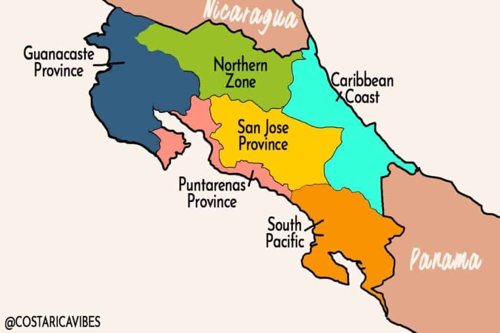 costa rica region map